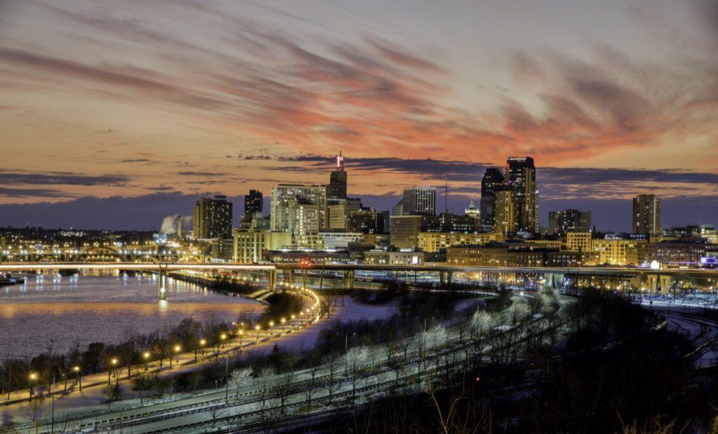 cityscape photo of downtown Saint Paul, Minnesota at dusk