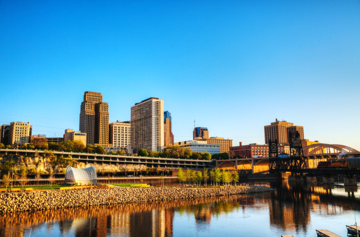 building and lakes in downtown St. Paul, Minnesota