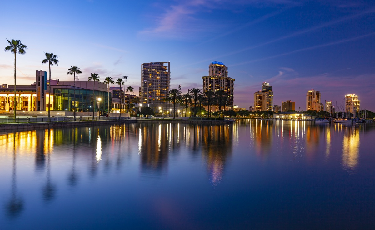 city skyline of and waterfront in St. Petersburg, Flordia