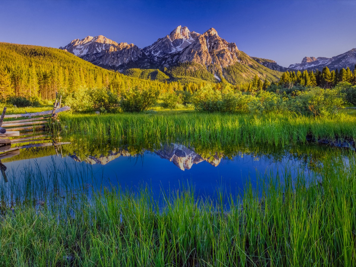 the Sawtooth Mountain Range and lake in Stanley, Idaho