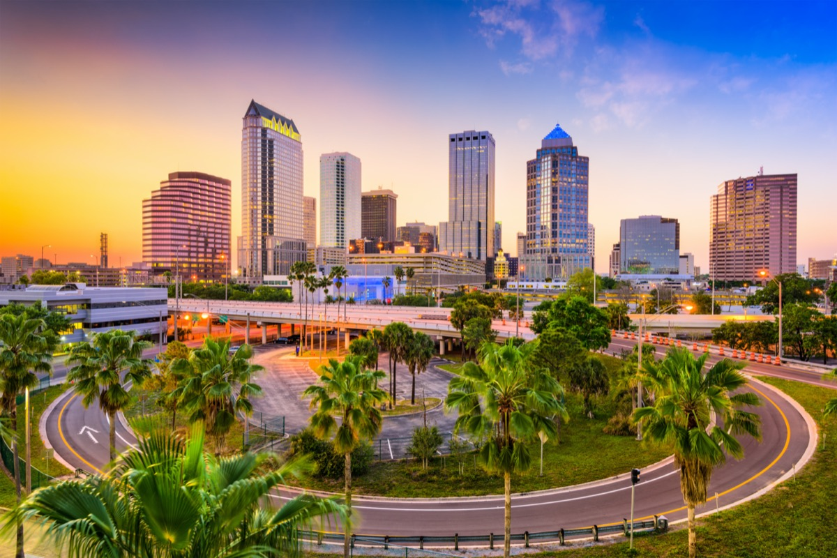 cityscape photo of a roundabout and buildings in Tampa, Florida at sunset