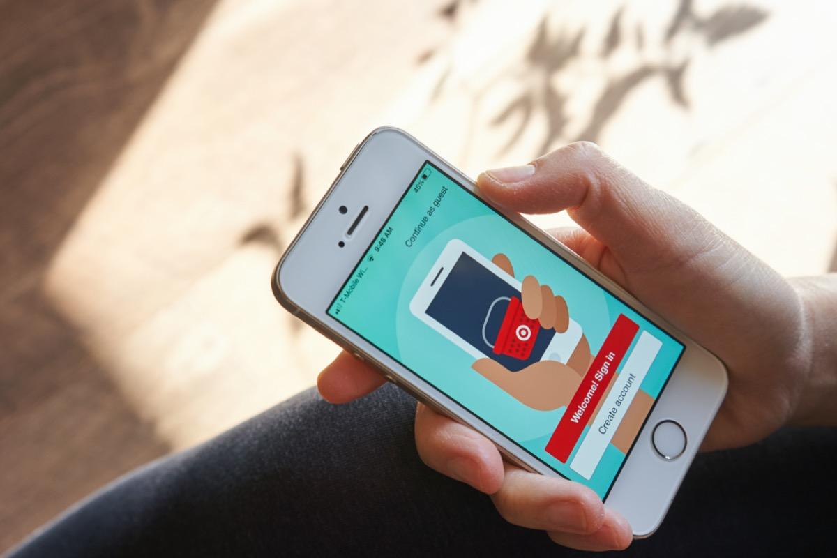 target mobile app on smartphone
