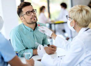 Man getting COVID test