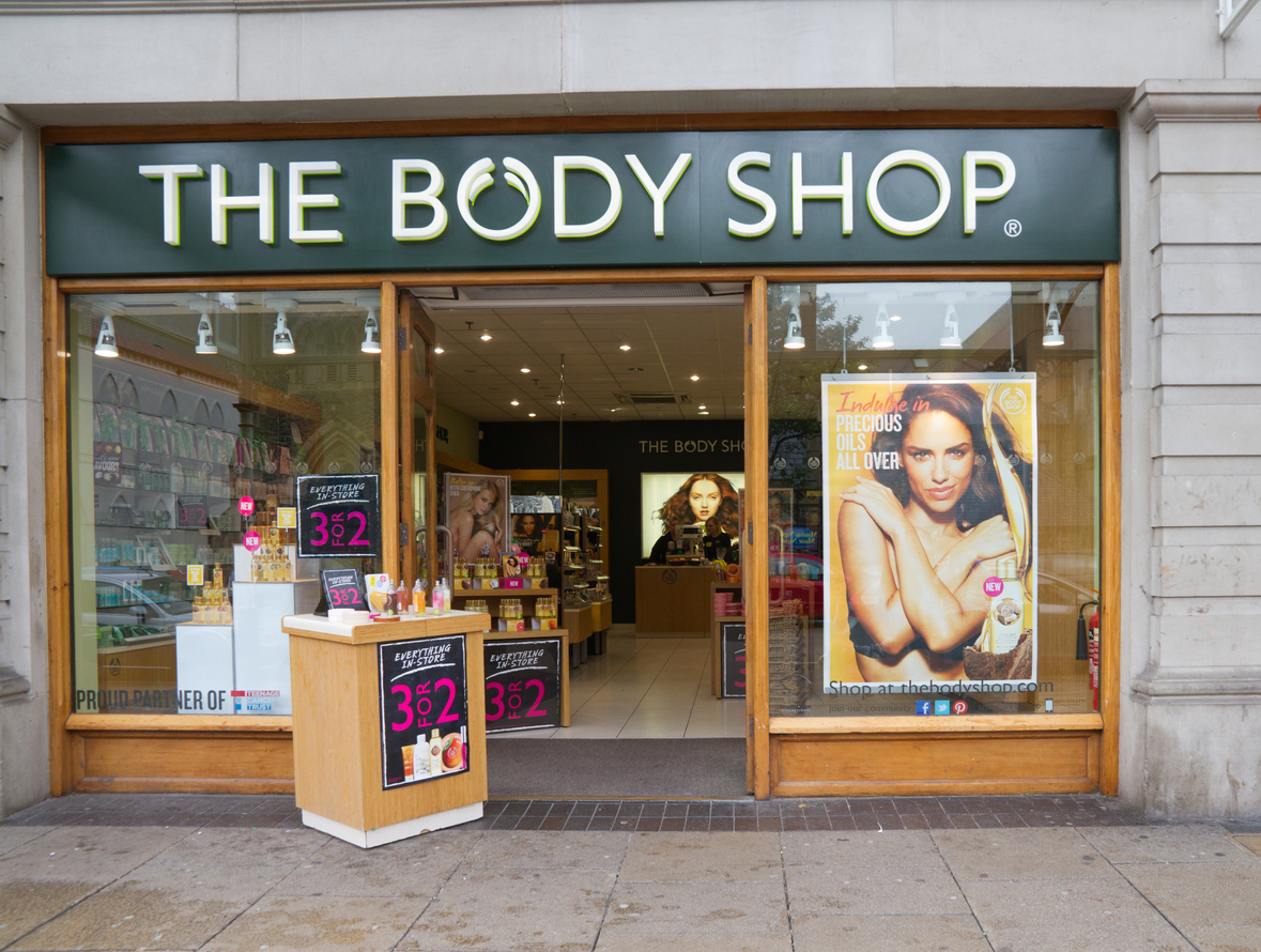 The exterior of The Body Shop retail store