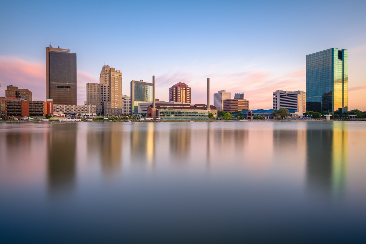 city skyline of and the Maumee River in Toledo, Ohio