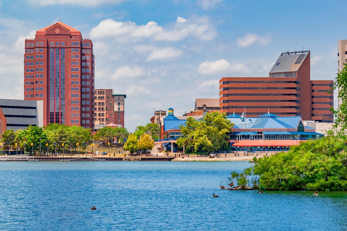 cityscape photo of buildings, trees, a lake, and a park in Toledo, Ohio