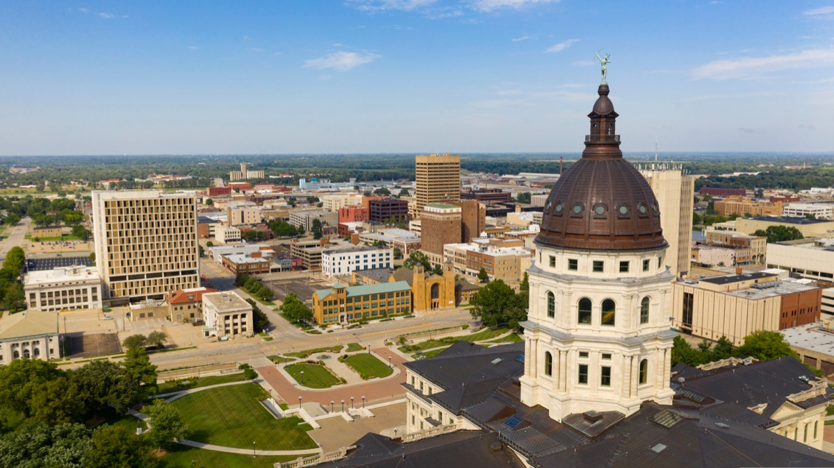 buildings and the Cooper dome in the downtown area of Topeka, Kansas