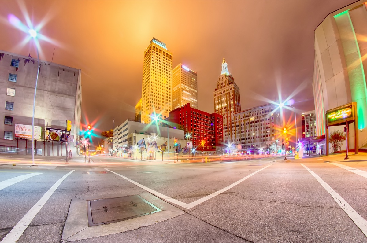 cityscape photo of downtown Tulsa, Oklahoma at night