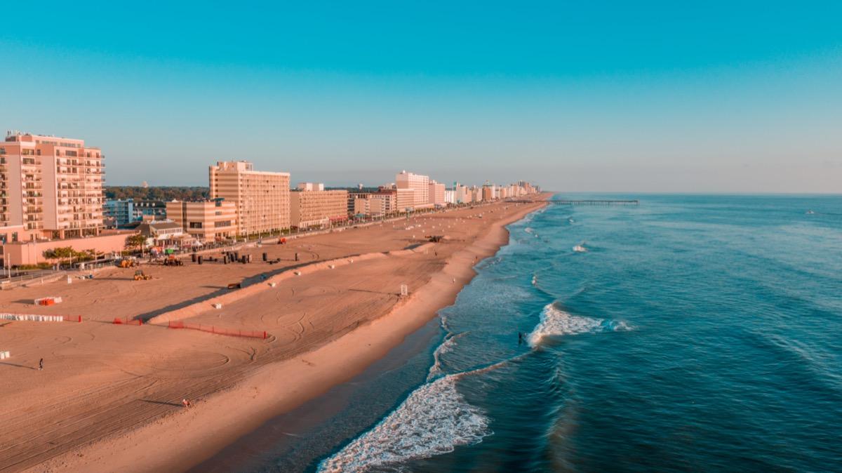 cityscape photo of a beach and hotels in Virginia Beach, Virginia