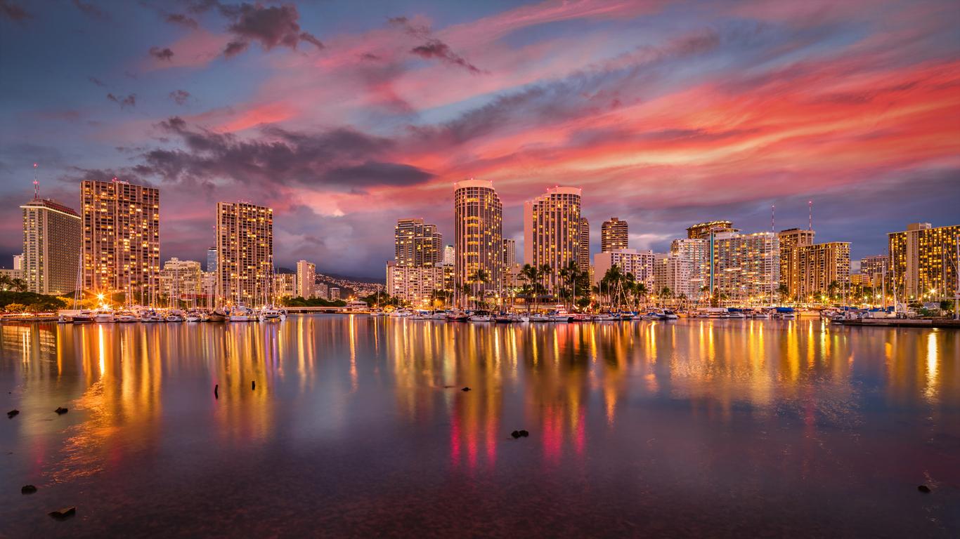 The skyline of Honolulu, Hawaii as seen from the water on Waikiki Beach at sunset.