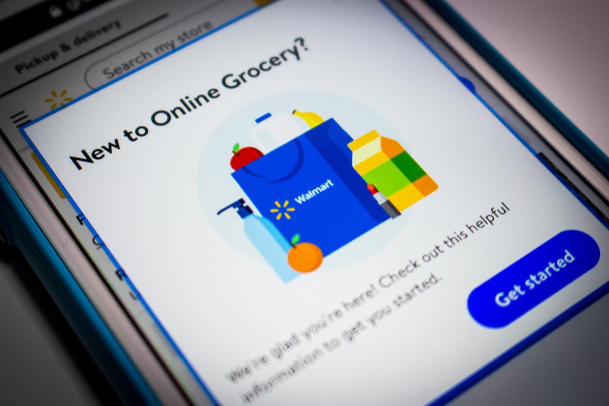 Online grocery notification popup in Walmart website on iPhone screen