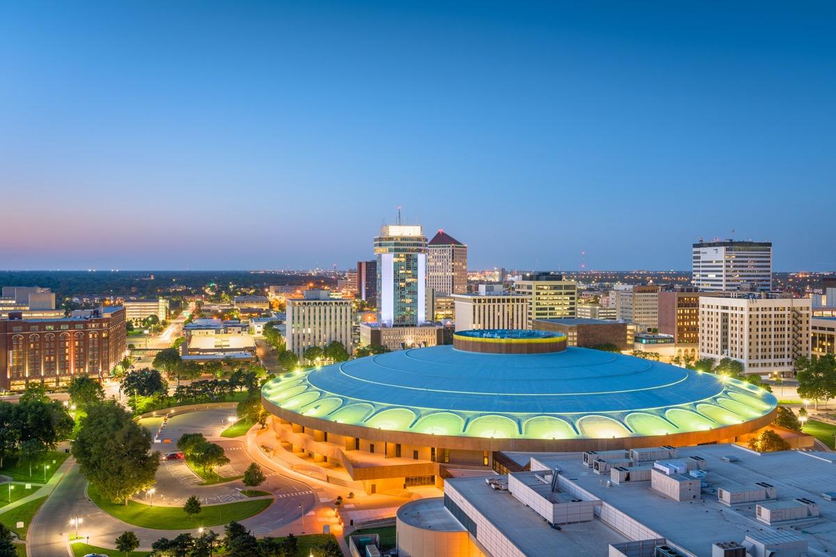 city skyline of Wichita, Kansas at dusk