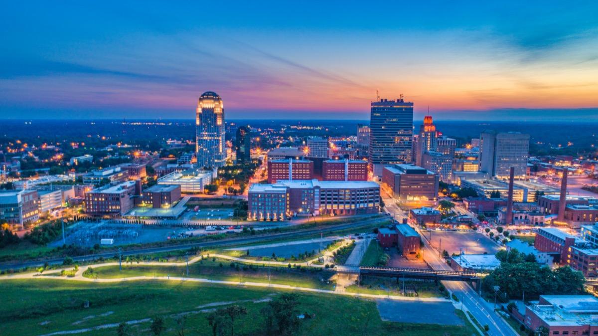 cityscape photo of downtown Winston-Salem North Carolina at dusk