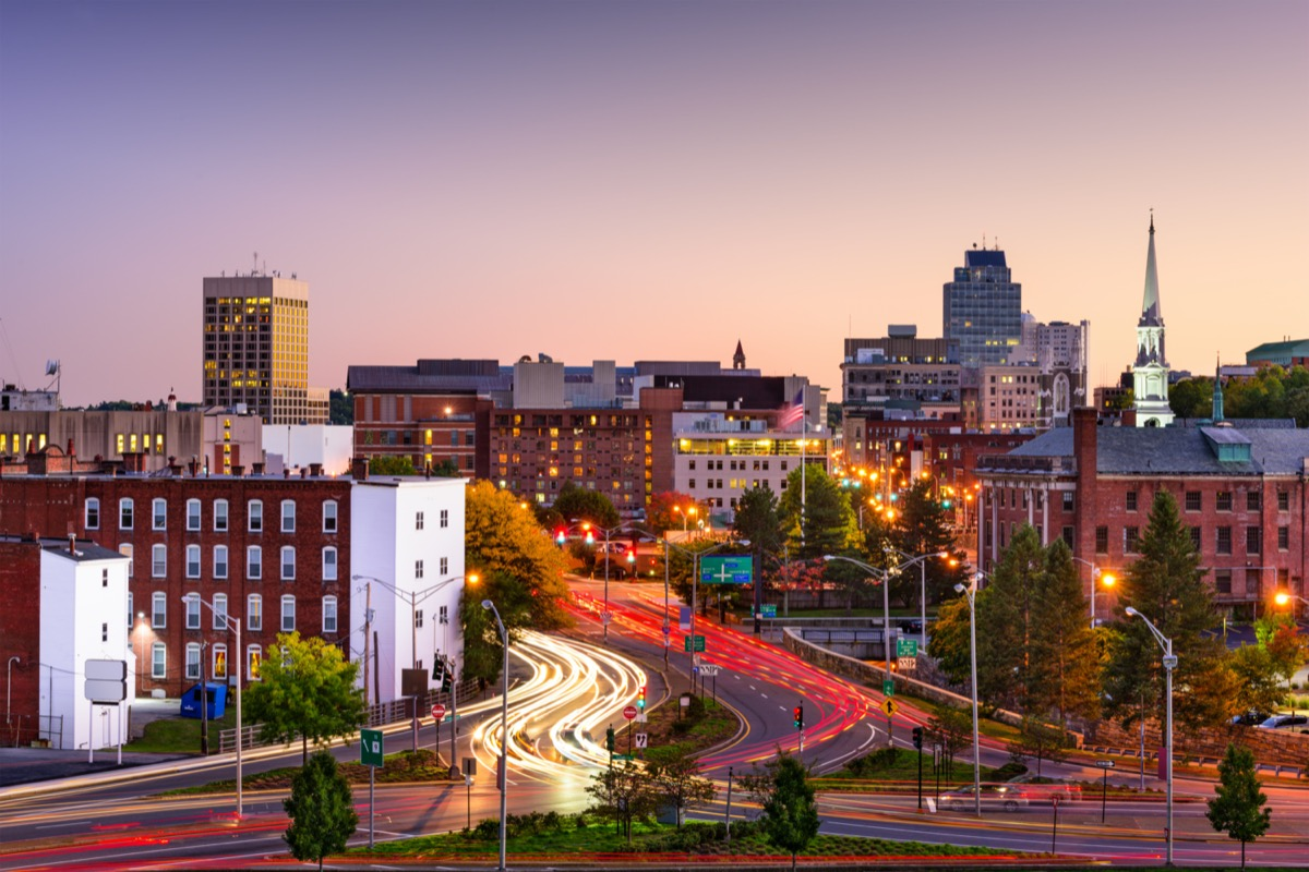 city skyline and fast moving traffic in Worcester, Massachusetts
