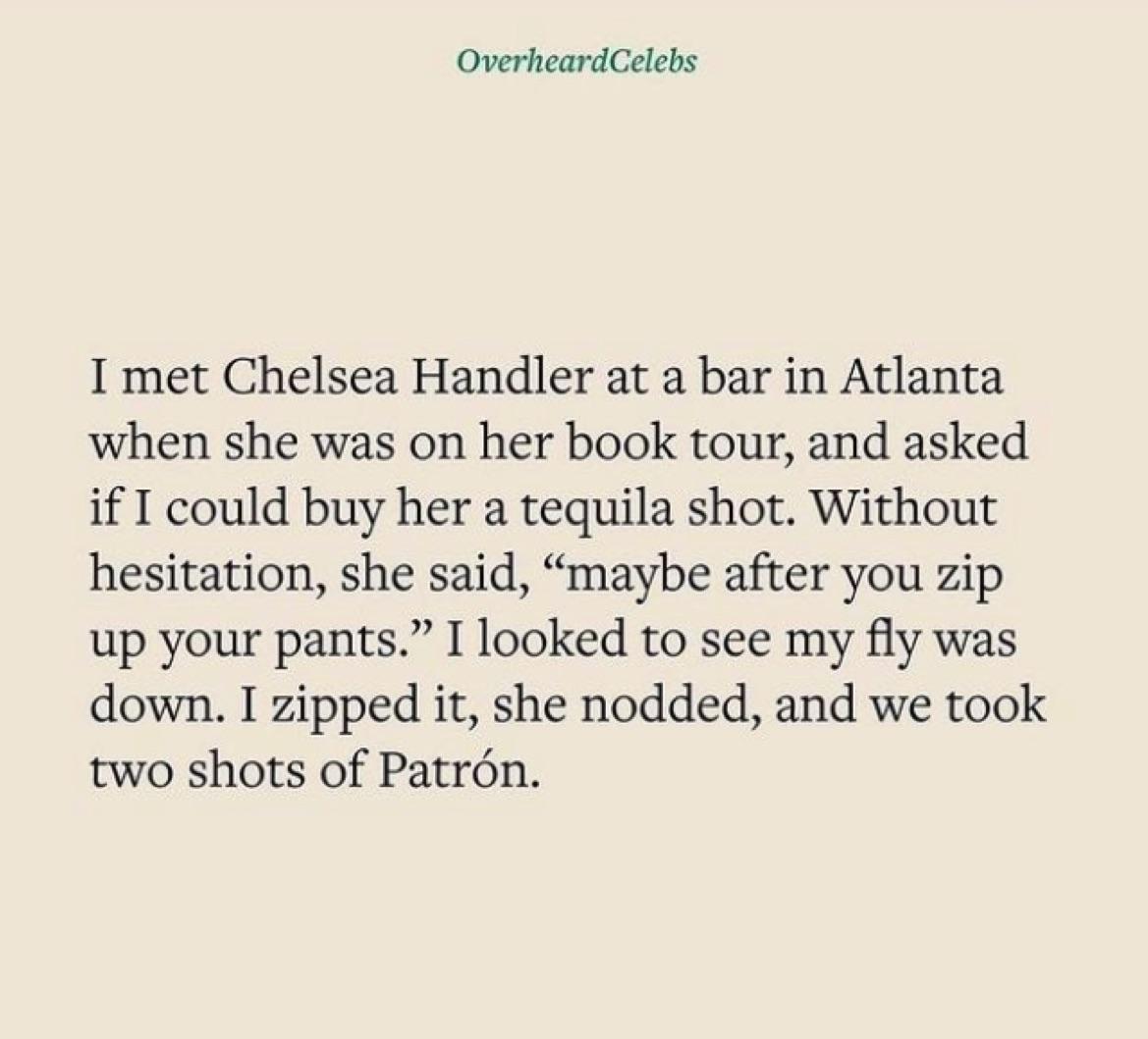 Overheard Celebs Chelsea Handler story