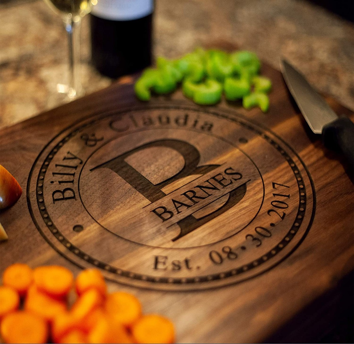 Cutting board engraved with couple's names