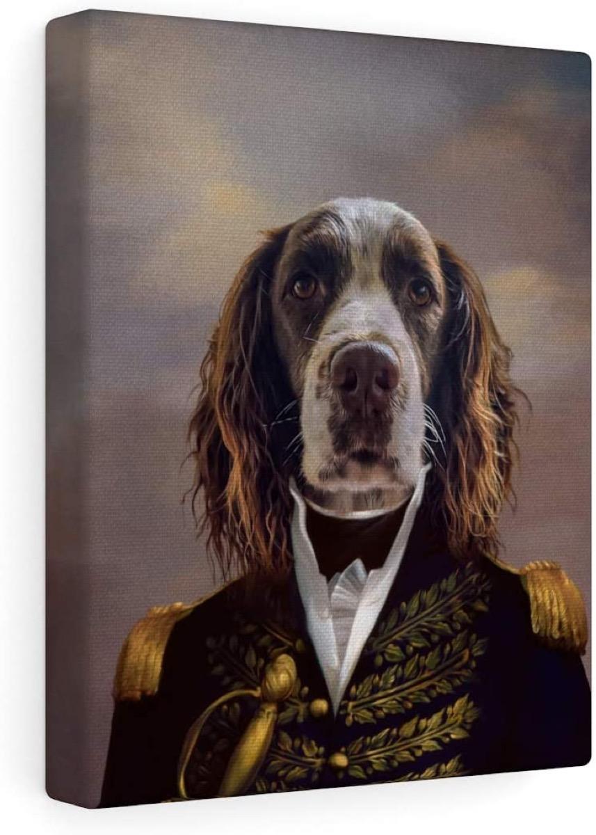 Renaissance dog portrait on canvas