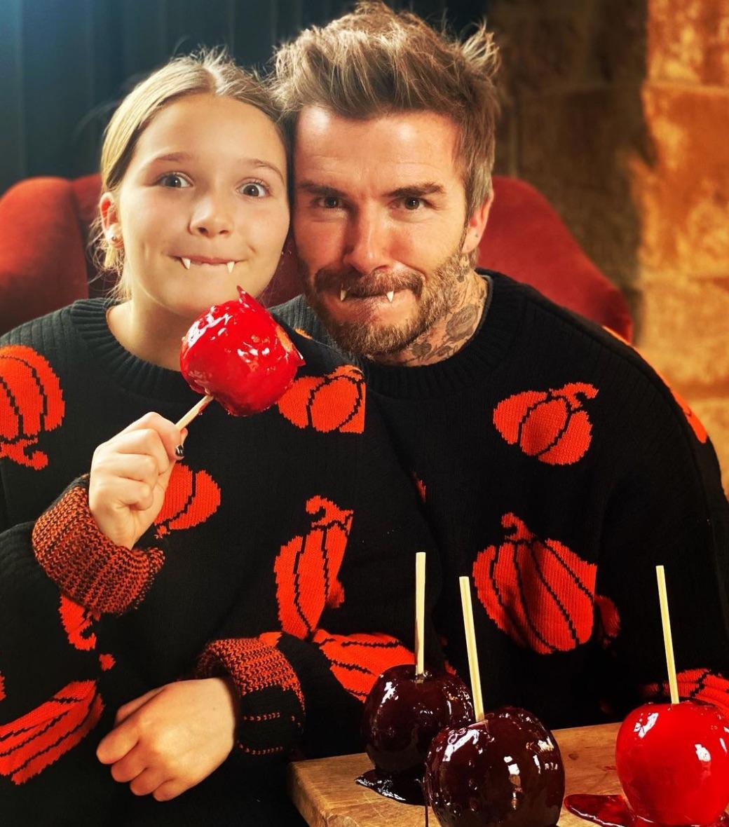 David Beckham and Harper Halloween