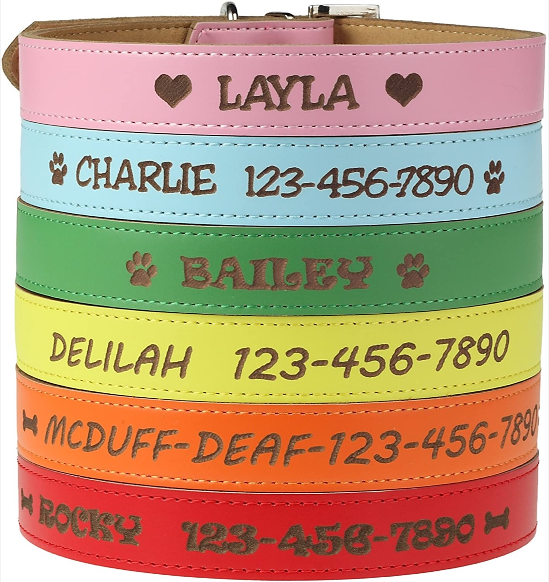 Engraved dog collars in many colors