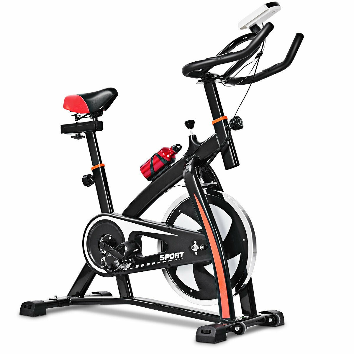 Black and red stationary exercise bike