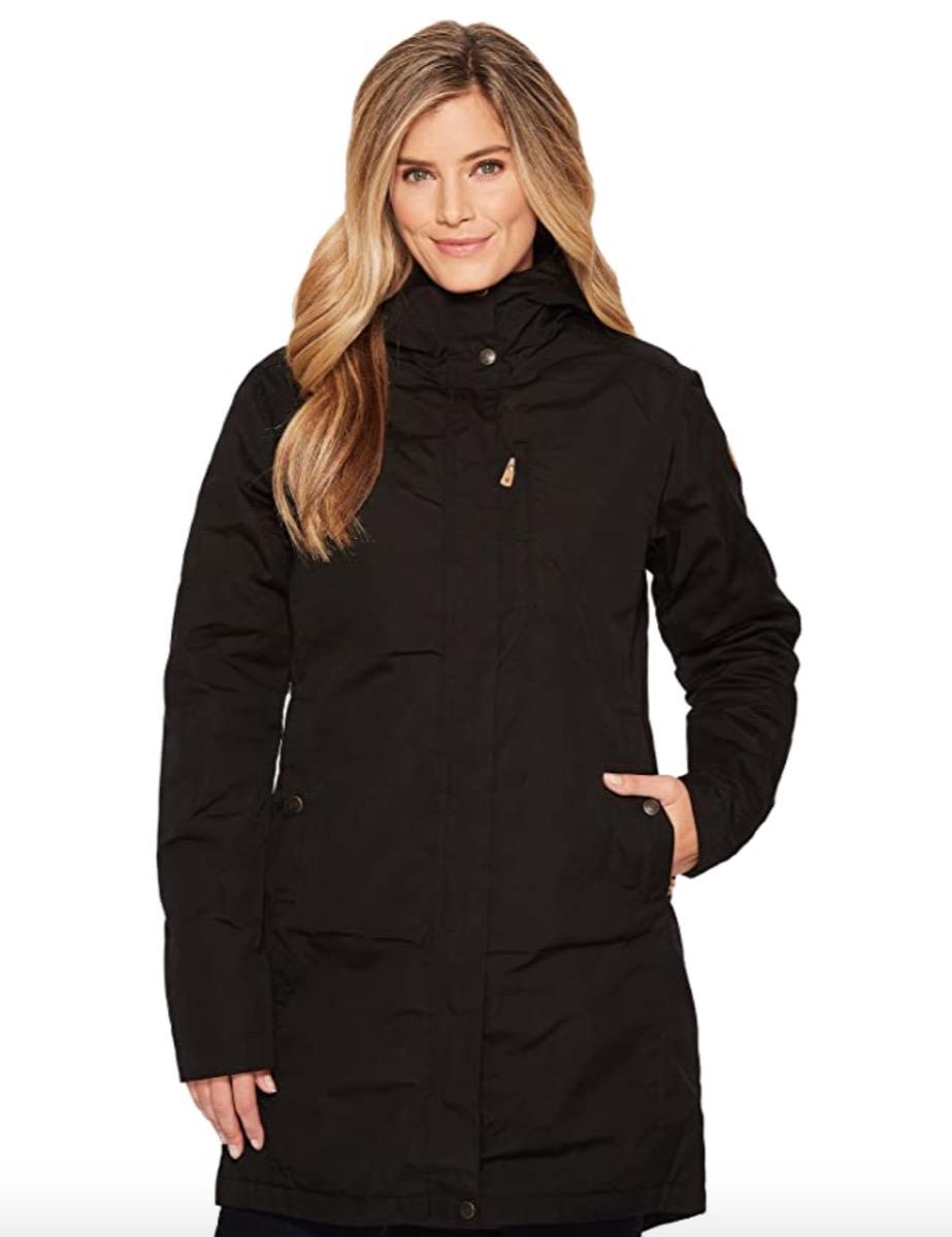 Woman wearing black winter parka