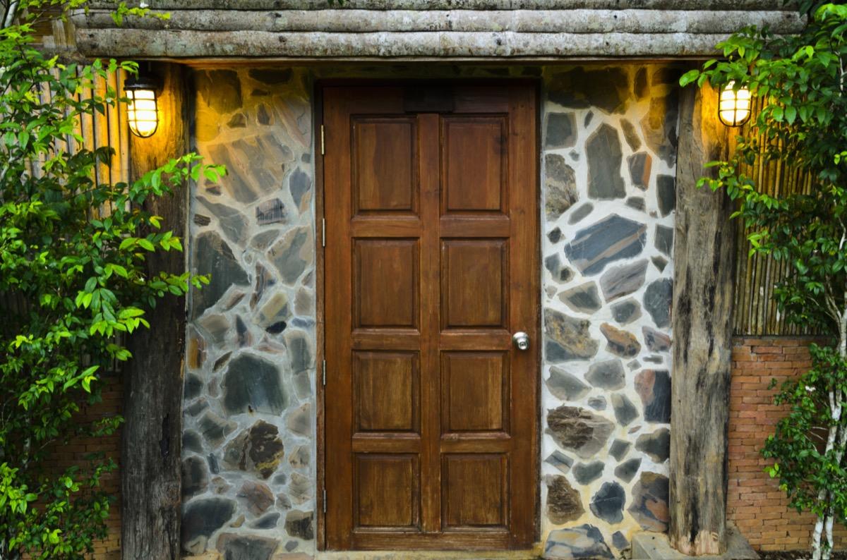 Front door at night