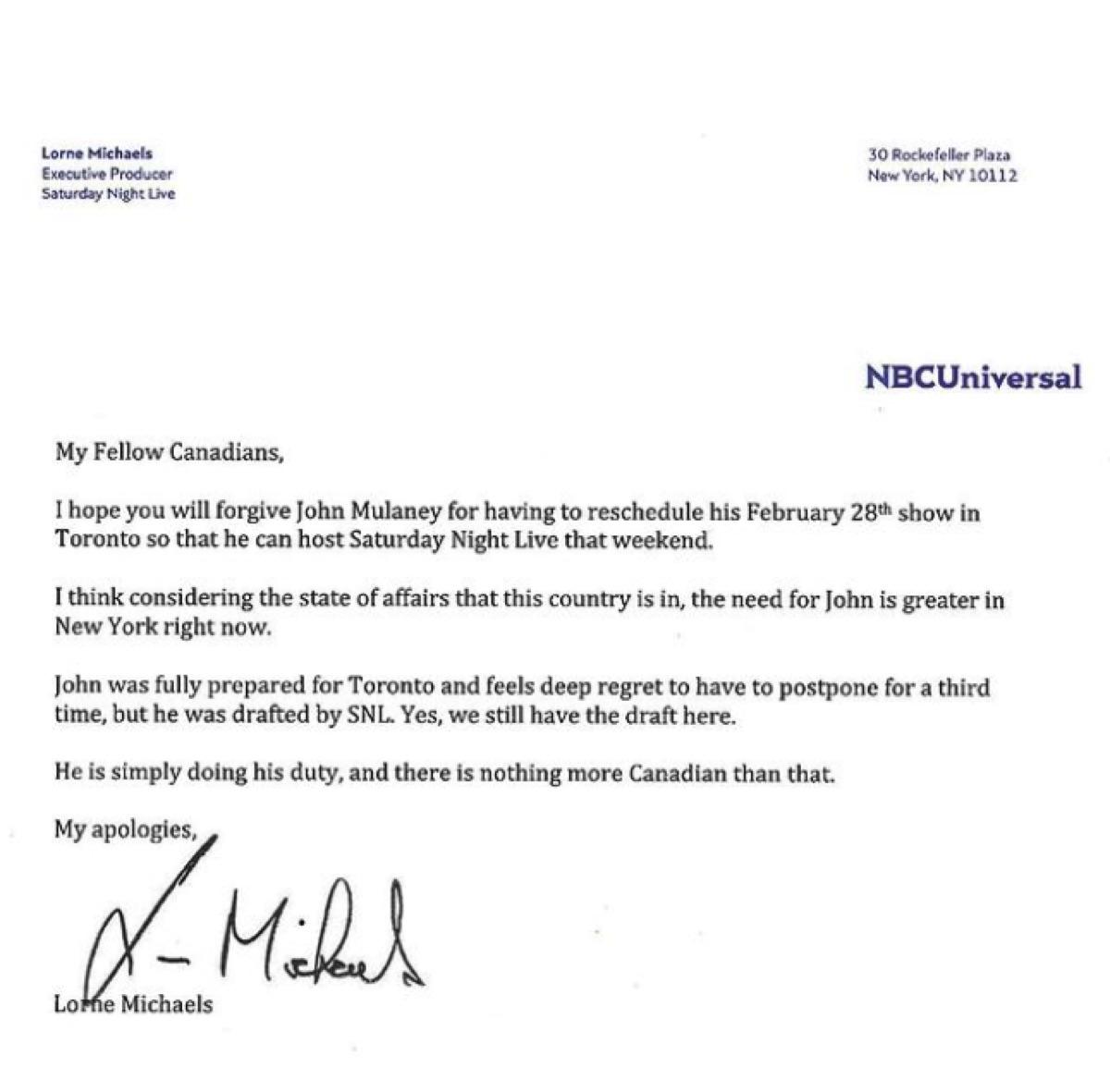 John Mulaney letter from Lorne Michaels
