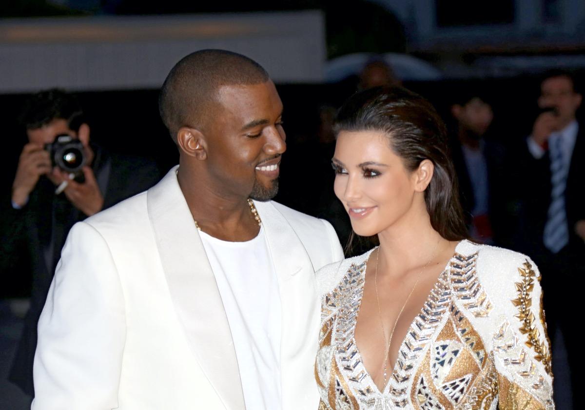 Kanye West and Kim Kardashian in 2012