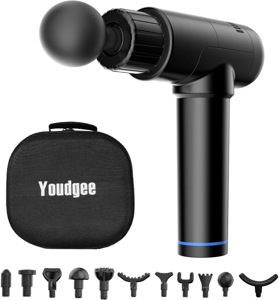 Black massage gun with accessories