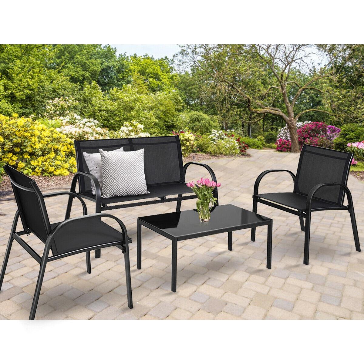 four piece black patio set