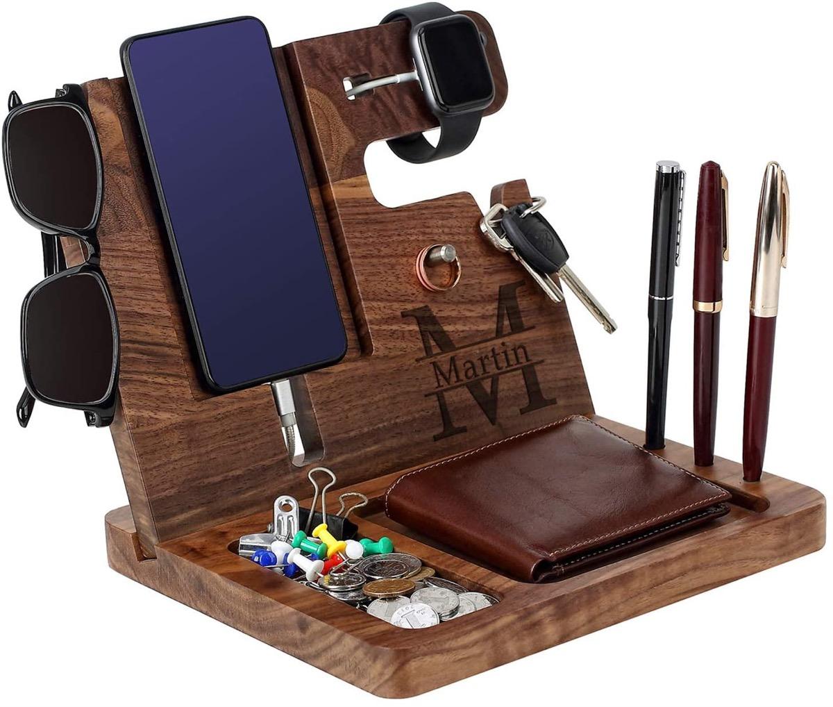 Phone docking station with men's essentials