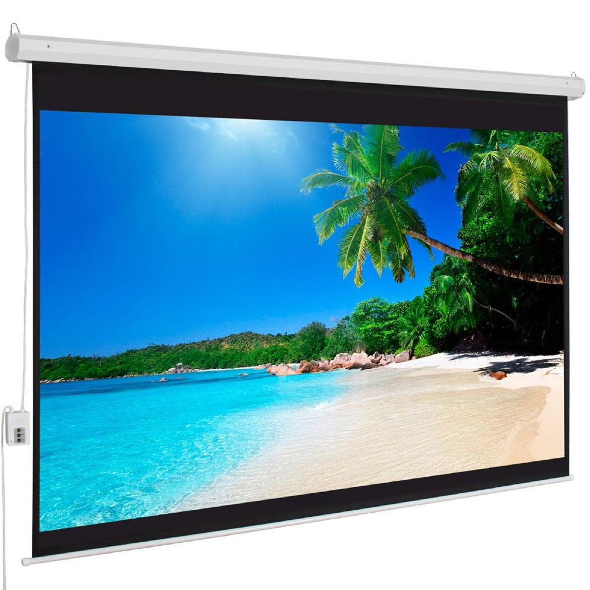 Motorized projector screen with beach image