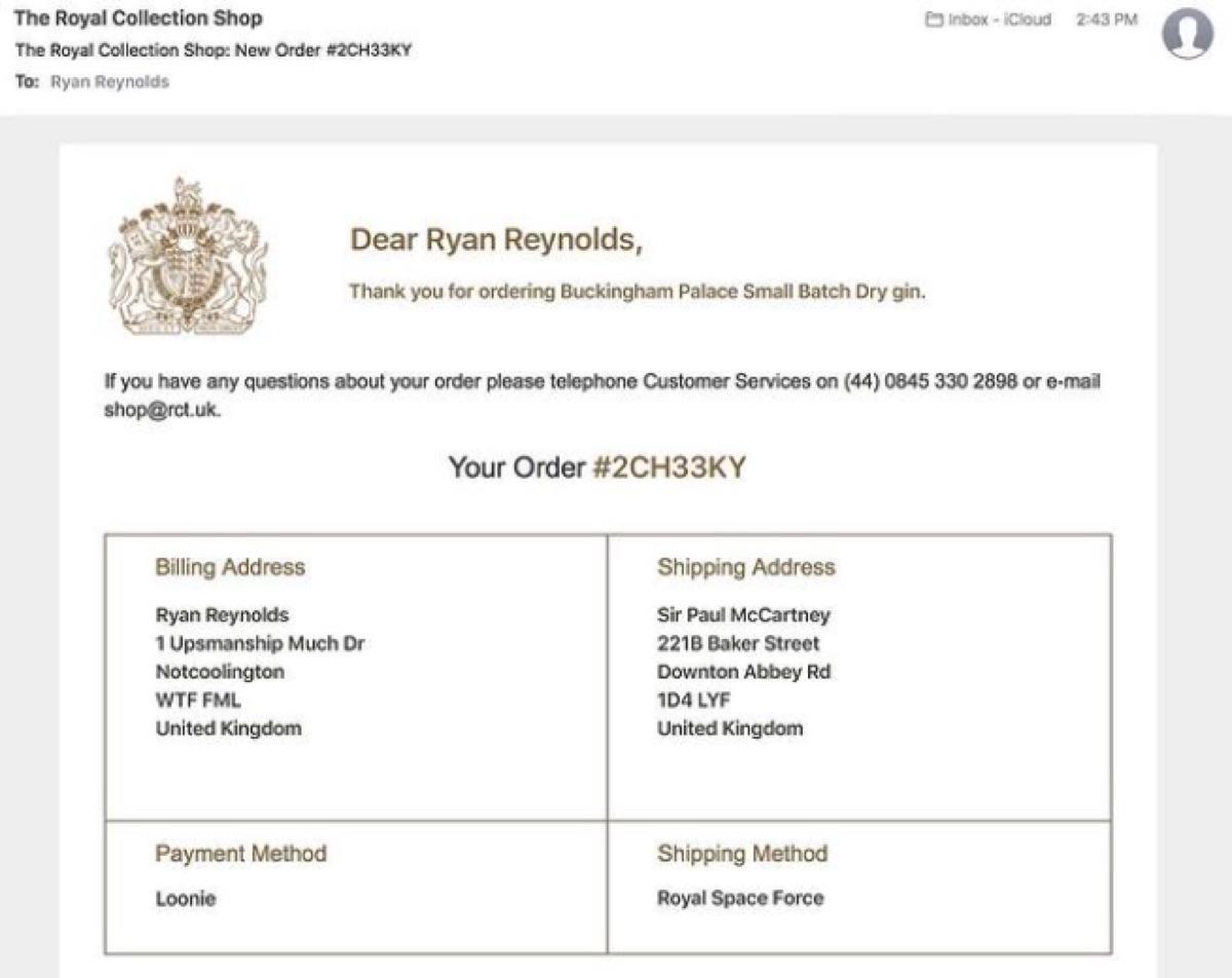 Ryan Reynolds gin order Instagram