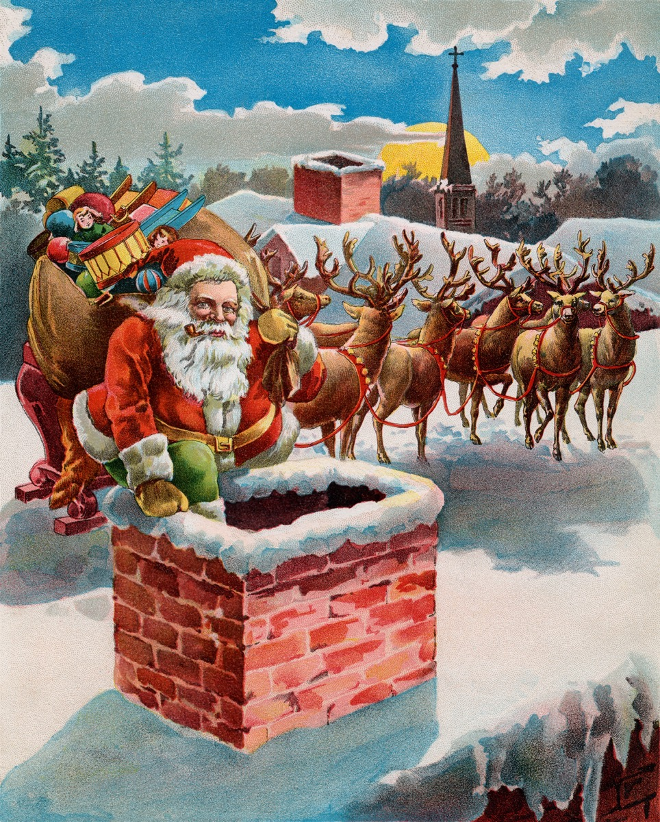 Vintage illustration of Santa and reindeer on a rooftop