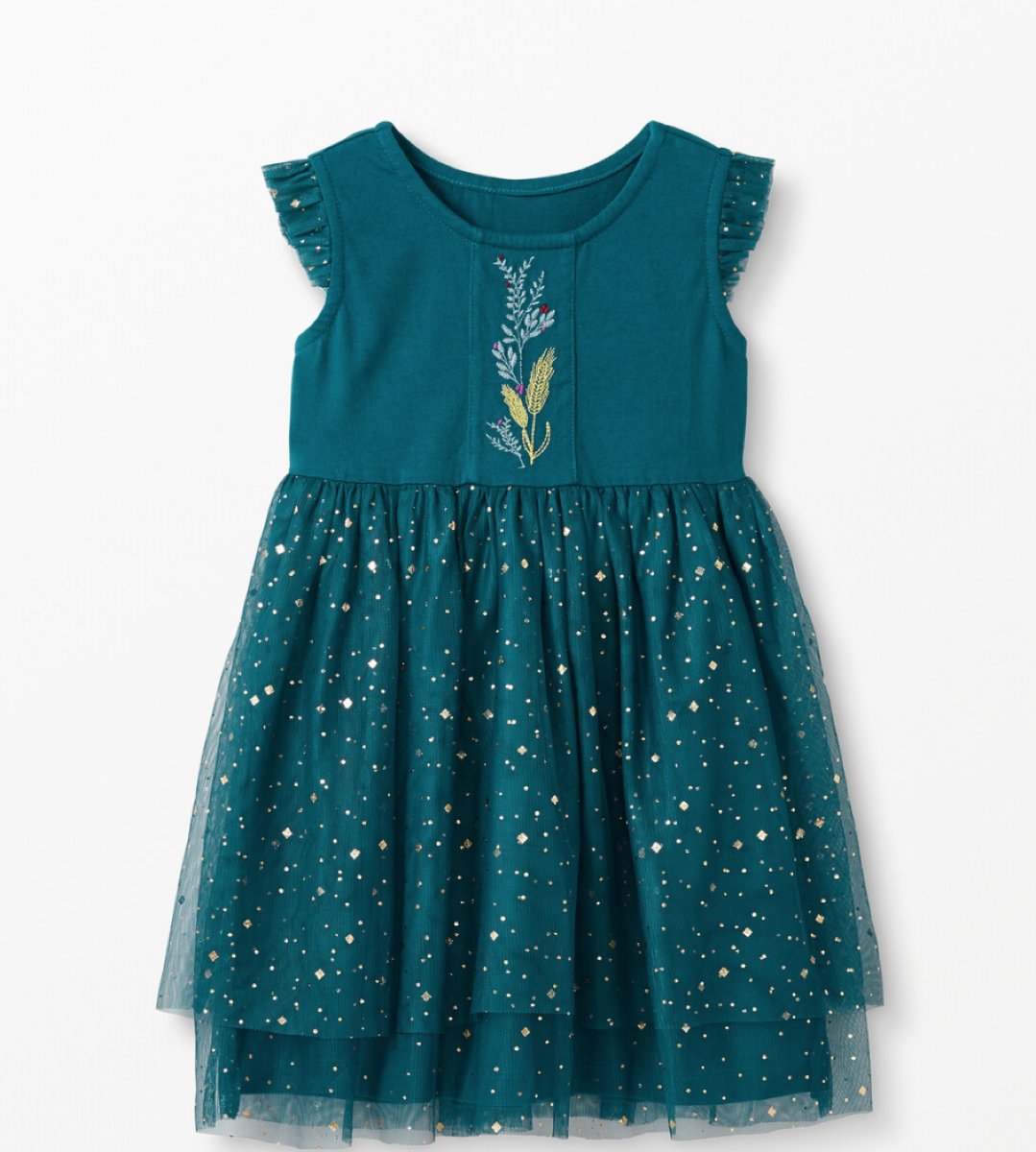 green dress with gold sparkles