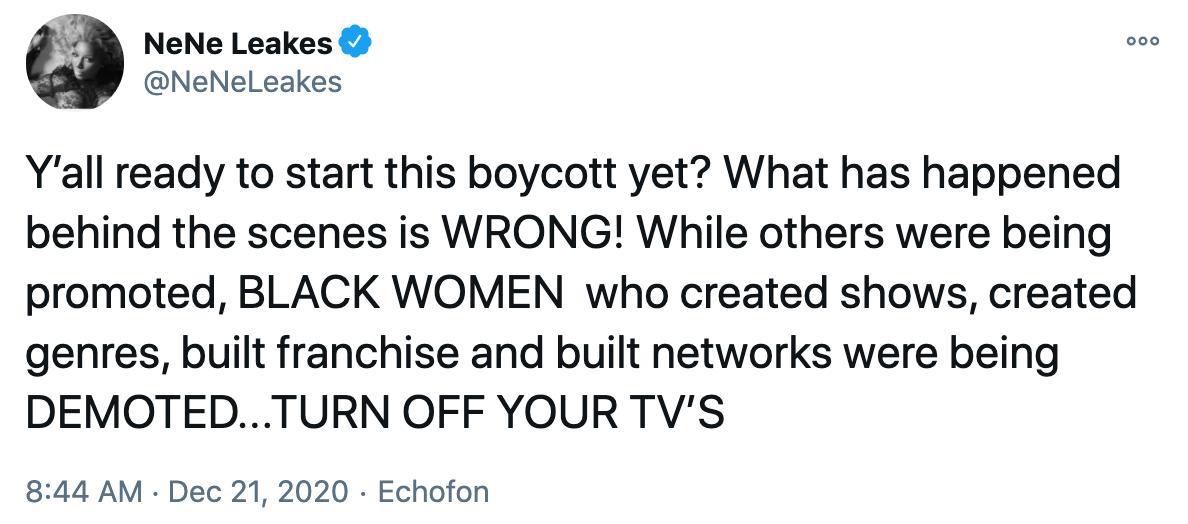 NeNe Leakes boycott tweet