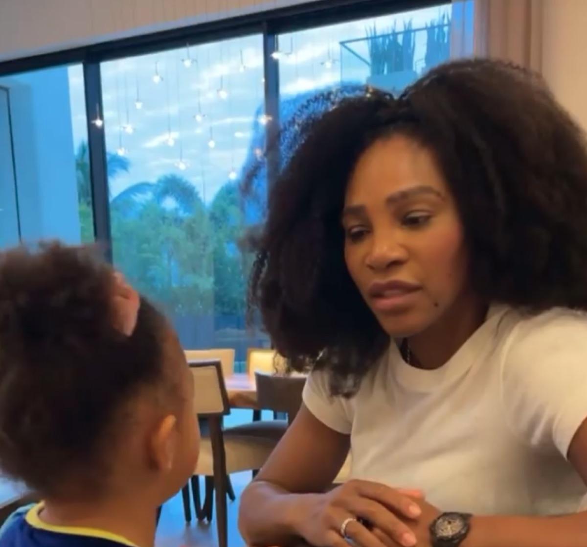 Serena Williams play COVID test video