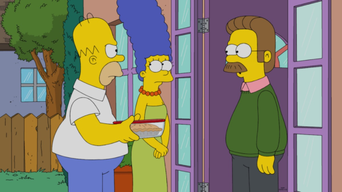 Still from The Simpsons with Homer, Marge, and Flanders