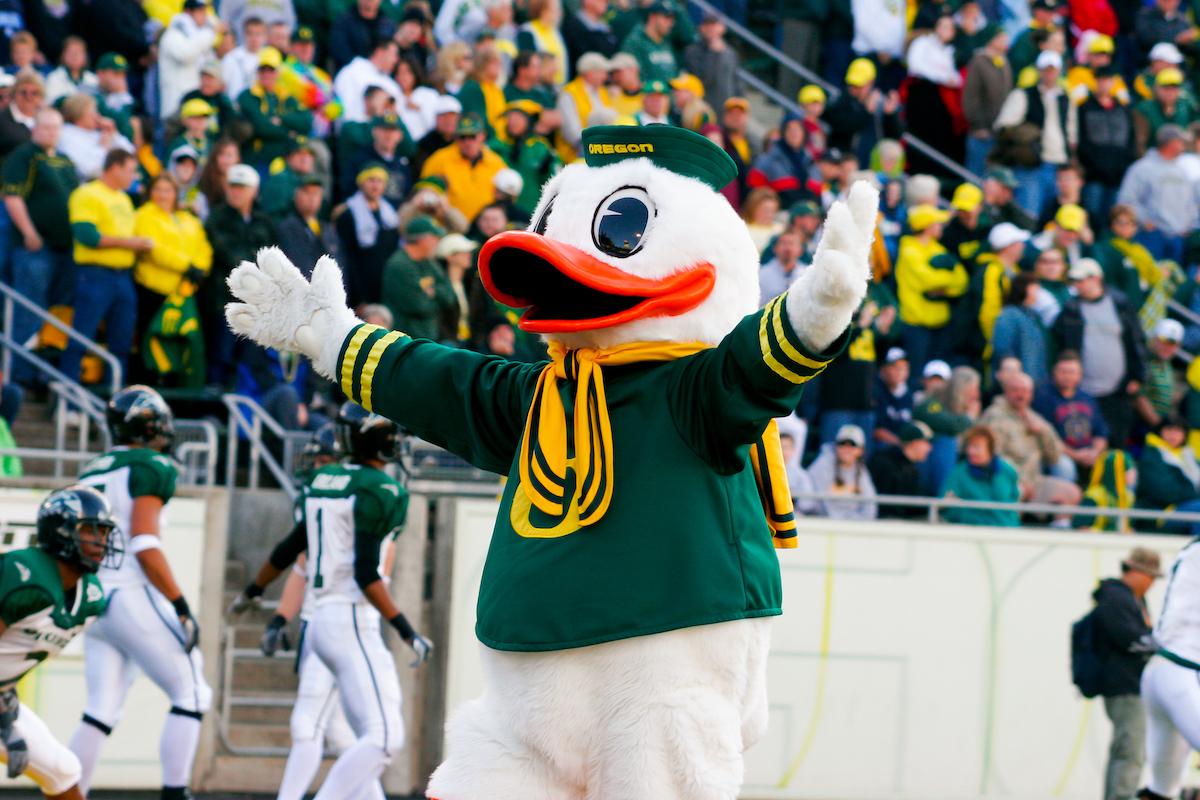 University of Oregon duck mascot