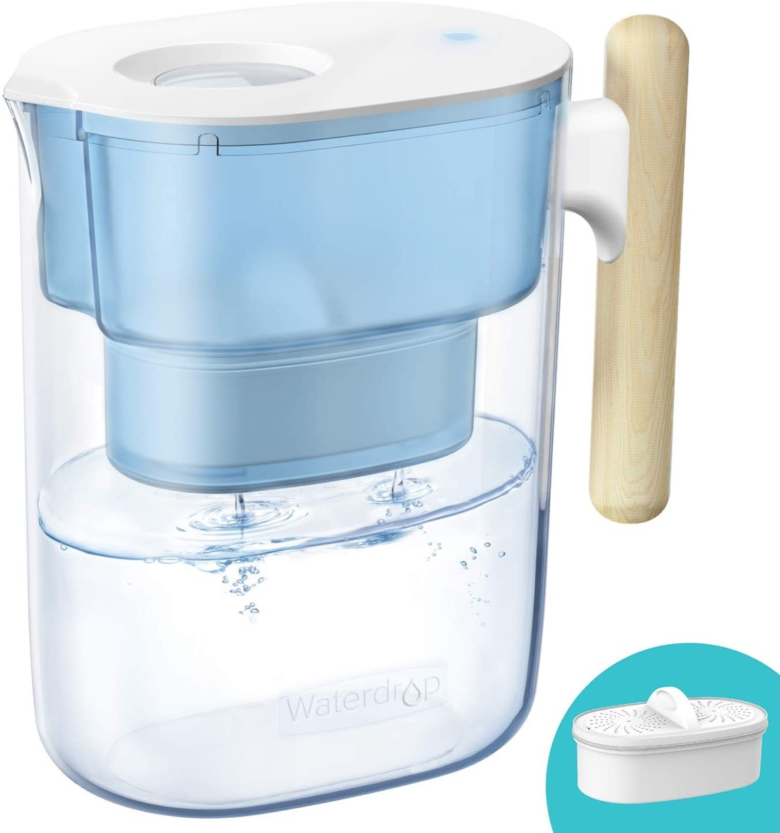 water filtration pitcher with wood handle