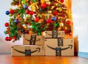 amazon prime boxes under christmas tree