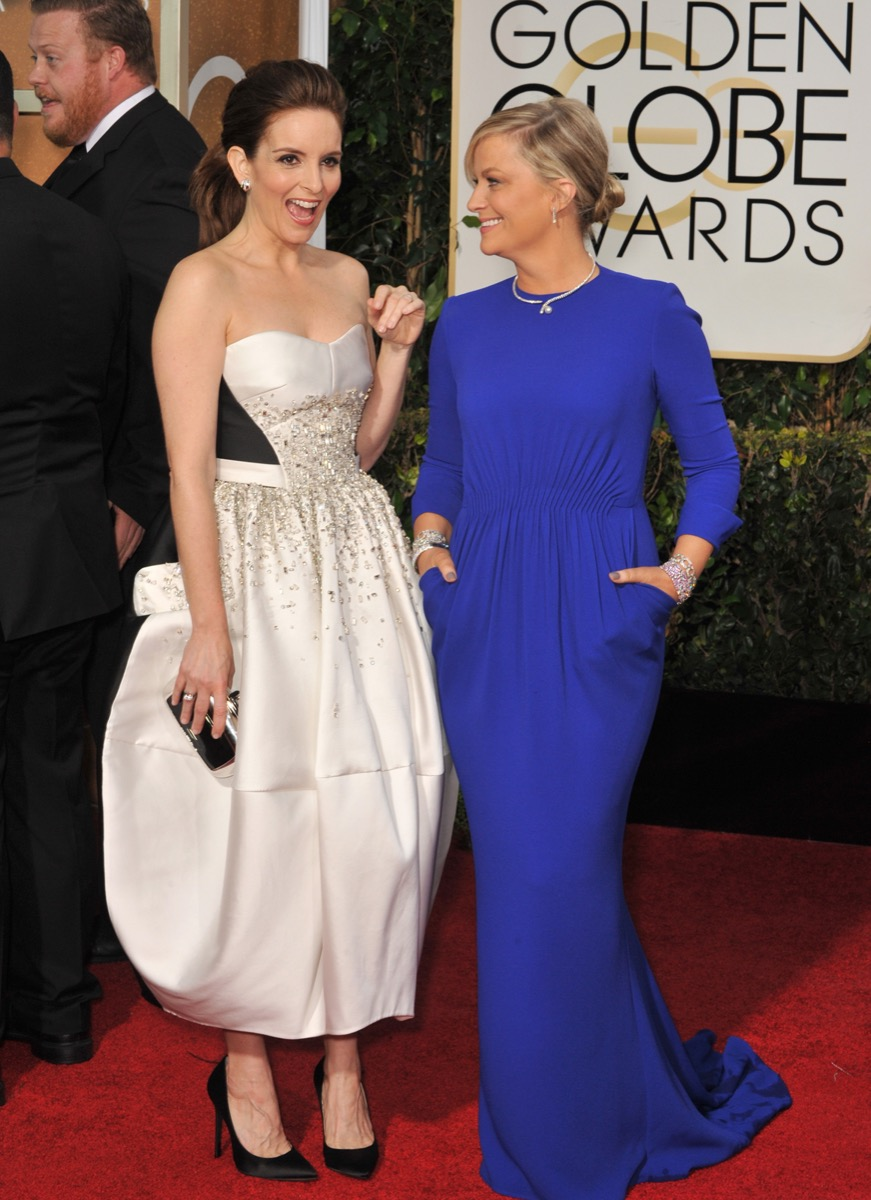 Amy Poehler and Tina Fey at the Golden Globes in 2015