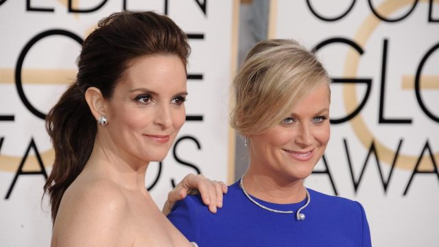 Tina Fey, Amy Poehler at arrivals for The 72nd Annual Golden Globes Awards 2015