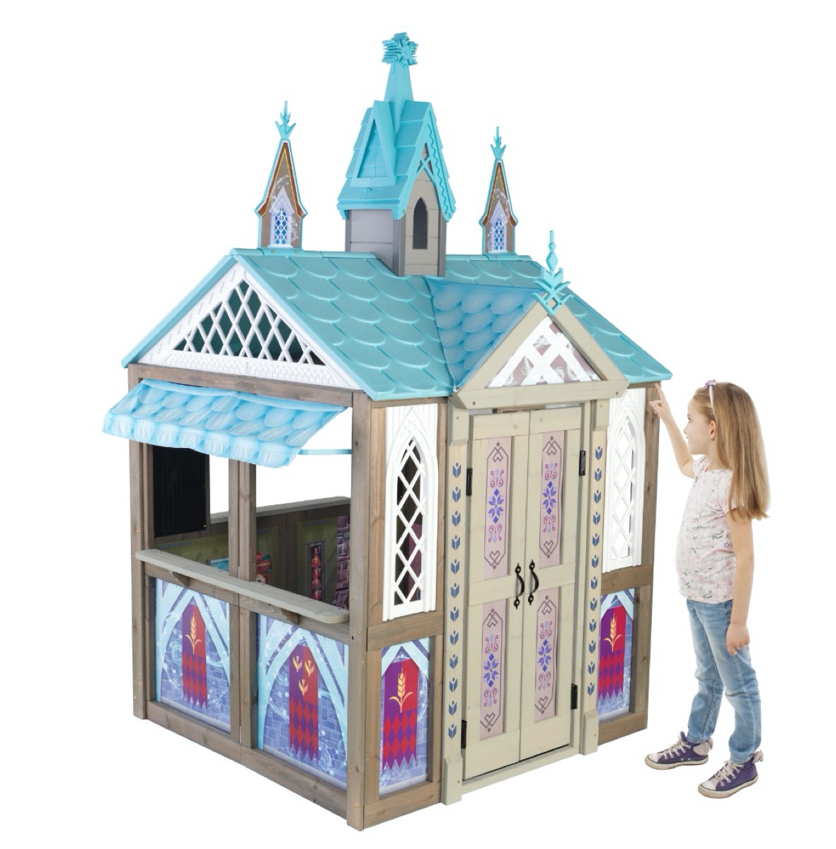 castle-themed wooden playhouse with blue top