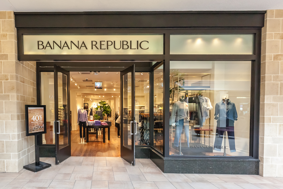 Banana Republic storefront in Bayview Village Shopping Centre. Banana Republic is a retailer operated by Gap, an American clothing and accessories retailer.