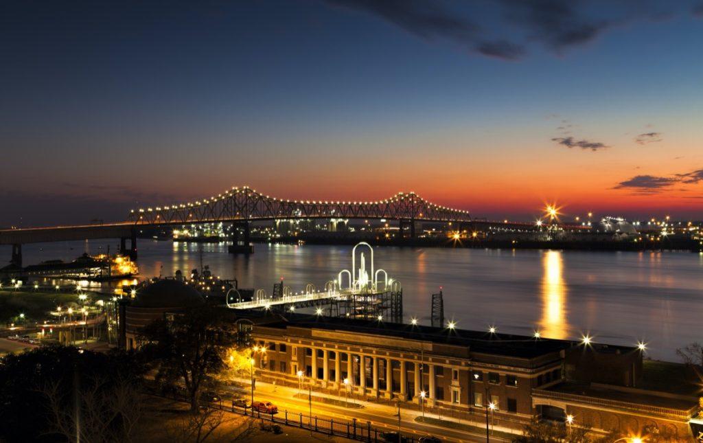 cityscape photo of downtown Baton Rouge, Louisiana at night