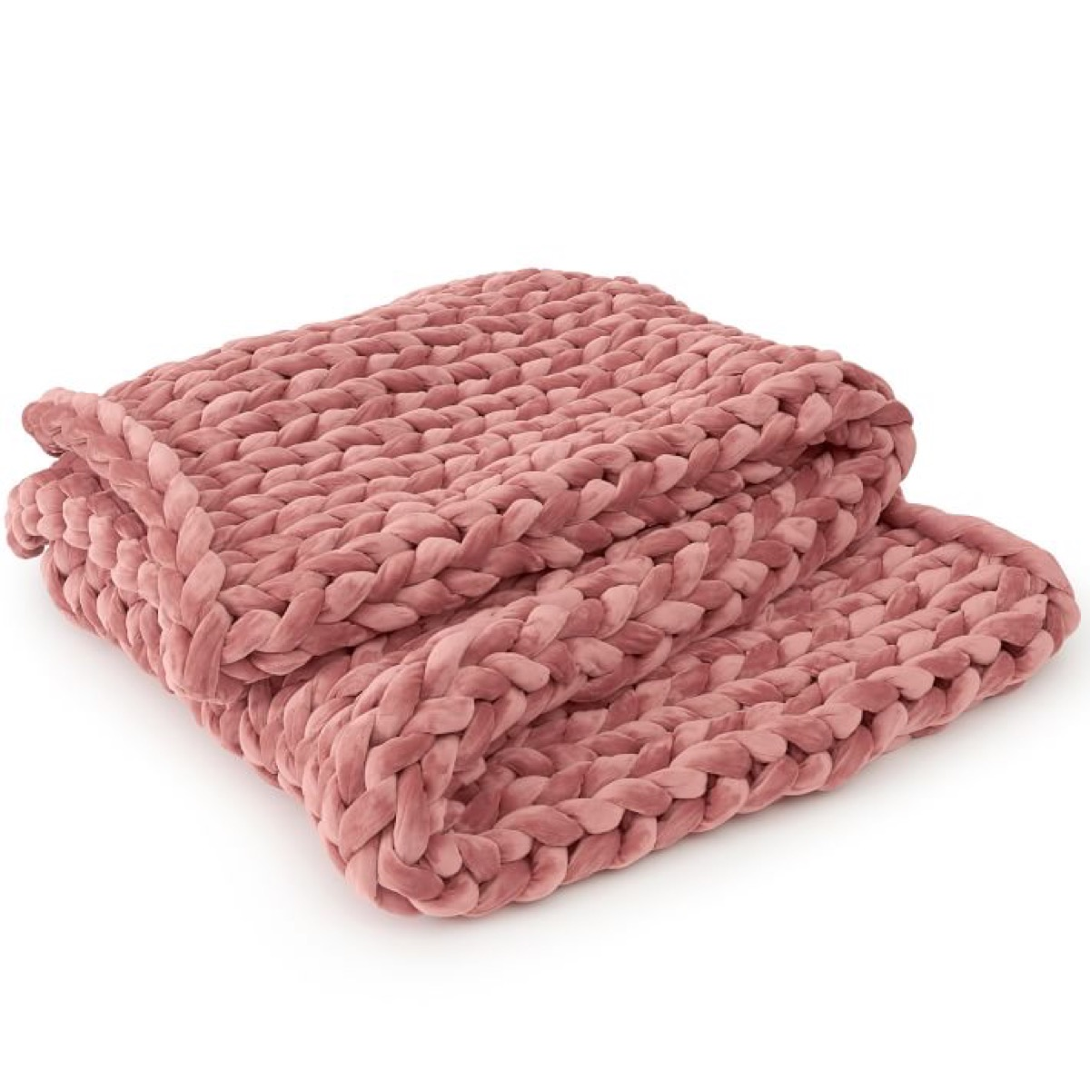 pink knit weighted blanket