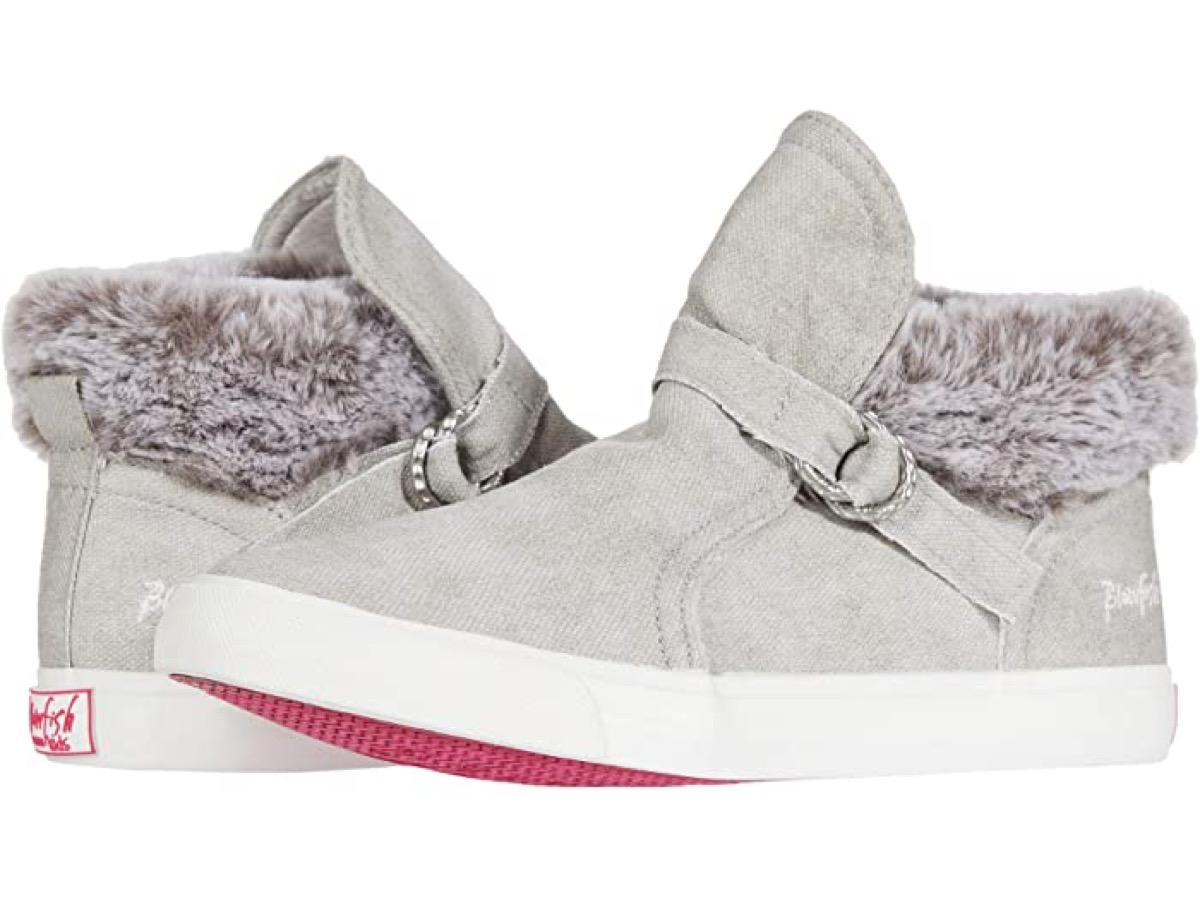 gray faux fur sneakers