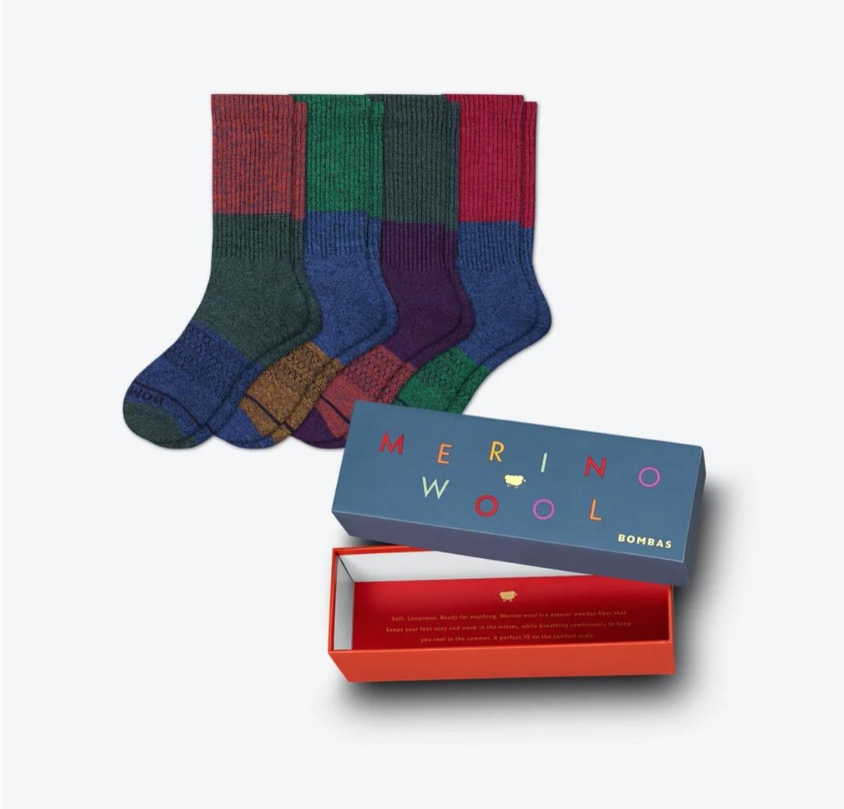 color blocked wool socks and box
