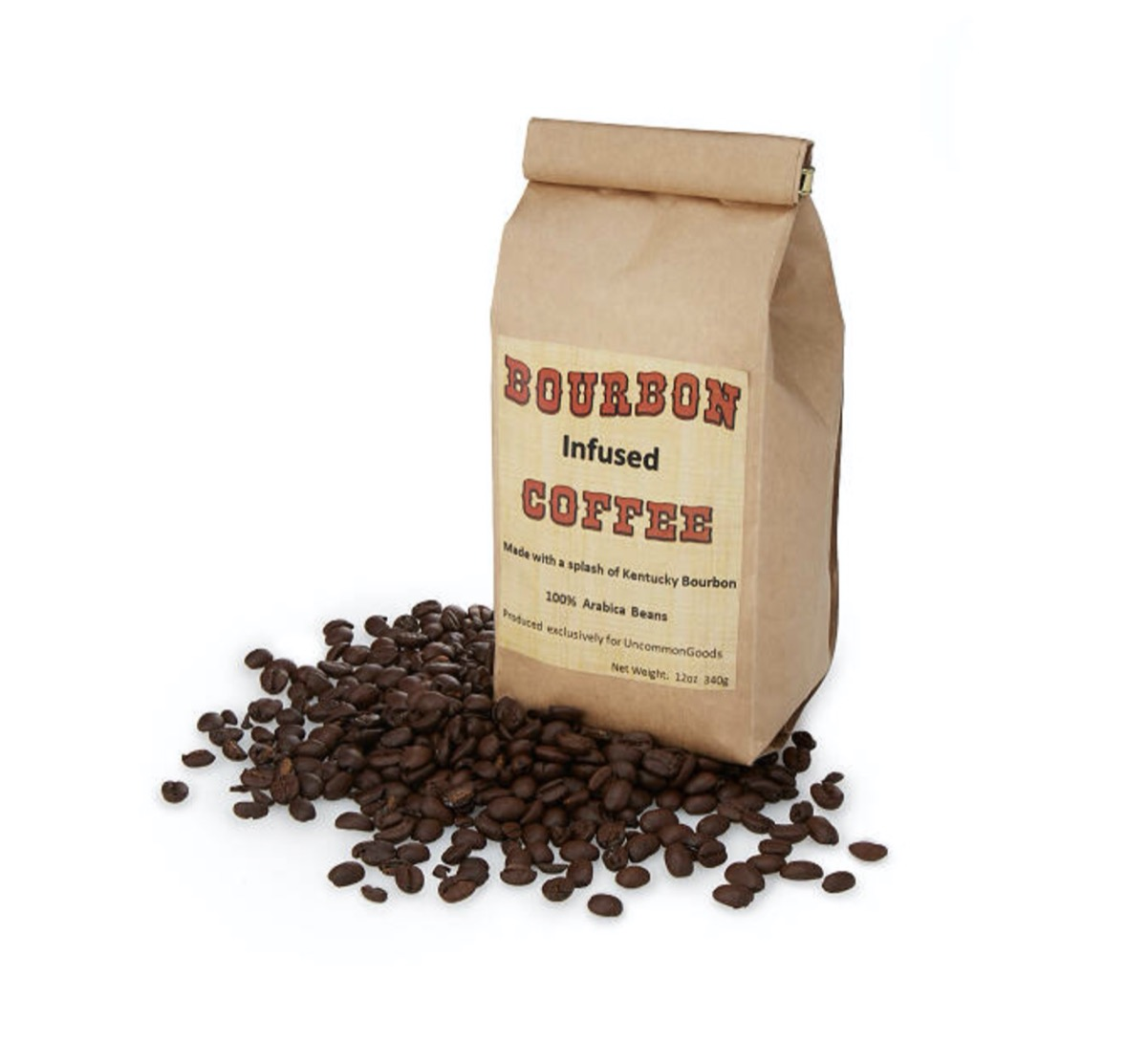 brown bag of bourbon infused coffee with coffee beans in front of it